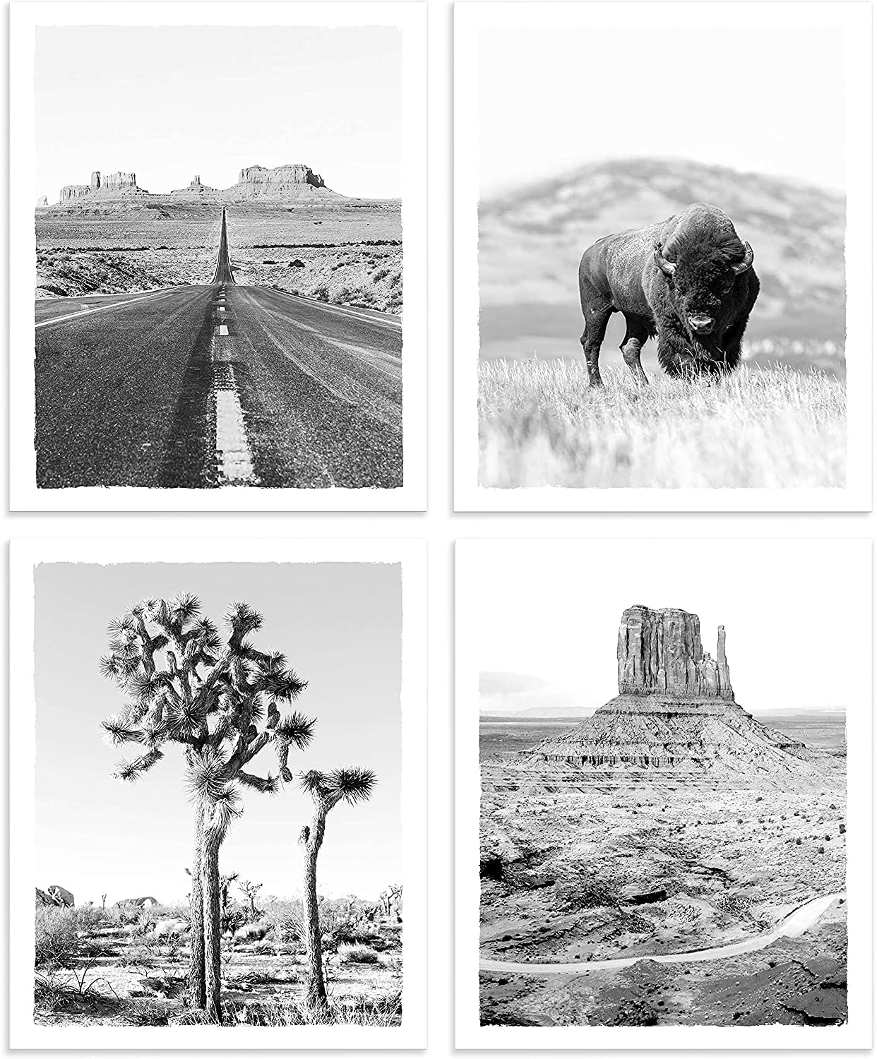 Desert Landscape Prints Wall Art UNFRAMED American Buffalo Pictures Tree Highway Monument Valley Black and White Photograph for Home Wall Decor 8x10 Inches Set of 4