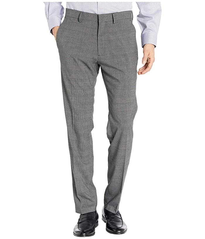 Kenneth Cole Reaction  Stretch Heather Glen Plaid Slim Fit Flat Front Dress Pants (Charcoal Heather) Mens Dress Pants