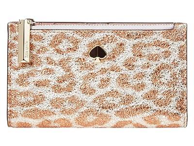Kate Spade New York Metallic Leopard Small Slim Bifold Wallet (Silver Multi) Bill-fold Wallet
