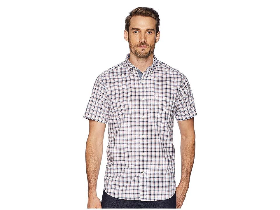 Nautica Short Sleeve Plaid Poplin Woven Shirt (Bright White) Men