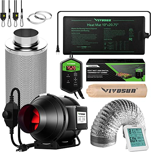 """high quality VIVOSUN 4 Inch 190 CFM Inline sale Fan with Speed Controller, 4 online Inch Carbon Filter and 8 Feet of Ducting, Temperature Humidity Monitor, and 10""""x20.75"""" Seedling Heat Mat and Digital Thermostat Combo sale"""