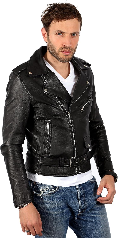 Men's Vintage Brando Casual Black Leather Biker Jacket
