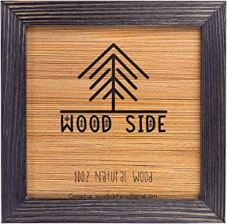 Rustic Wooden Square Picture Frame 12x12-100% Natural Solid Eco Distressed Wood for Wall Mounting Photo Frame - Dark Grey