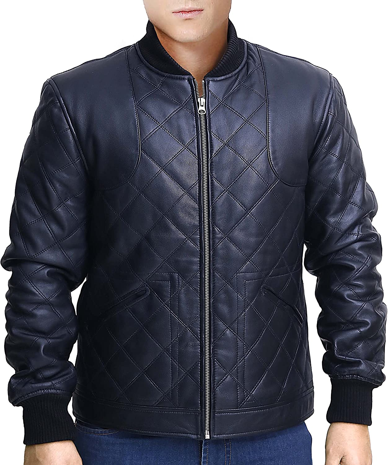 Snazzy David Beckham Full Quilted Black Leather Jacket