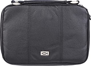 Ichthus Full Grain Leather Bible Cover in Black, Large