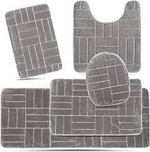 5pc Washable Bathroom Rug Set Dark Gray Bath Mat Runner Toilet Contour Lid Cover Home Garden Enoxmedia