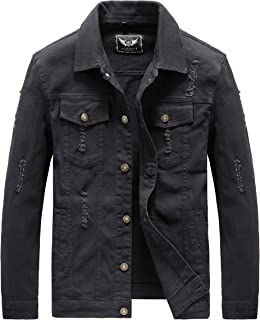 Men's Denim Jacket Classic Ripped Trucker Jean Jacket