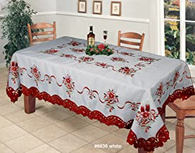 Creative Linens Holiday Christmas Embroidered Poinsettia Candle Bell Tablecloth 70x90 & 8 Napkins White & Red