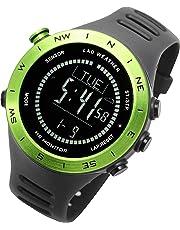 [ラドウェザー]ランニングウォッチ 心拍計 USB充電 速度計 歩数計 気圧計 高度計 コンパス アウトドア腕時計 スポーツ時計 (グリーン(反転液晶))