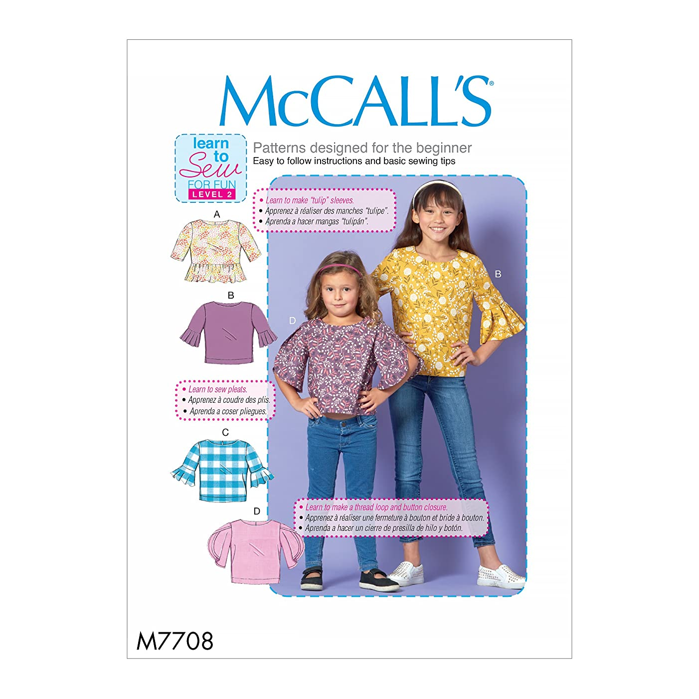 McCall Patterns M7708CCE Children/Girls' Tops