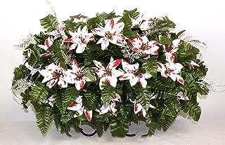 XL Artificial Peppermint Poinsettia's Cemetery Flower Headstone Saddle Grave Decoration