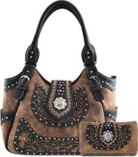 American Albino Floral Embroidery Buckle Shoulder Concealed Carry Handbag Purse
