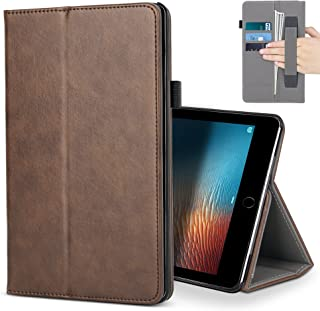 iPad Pro 10.5 Case,B BELK Premium Leather Multiple Viewing Stand Cover with Hand Strap, Auto Wake/Sleep Smart Folio Flip Card Holder for 2017 Release Apple iPad Pro 2 10.5 Inch (Brown)