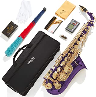 Mendini by Cecilio MAS-PL + 92D + PB Purple Lacquer E Flat Alto Saxophone با تیونر ، کیس ، دهانه ، 10 نی و بیشتر