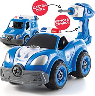 Take Apart Toys with Electric Drill   Converts to Remote Control Police Car   2 in one Take Apart Toy for Boys   Gift Toys for Boys 3,4,5,6,7 Year Olds   Kids Stem Building Toy