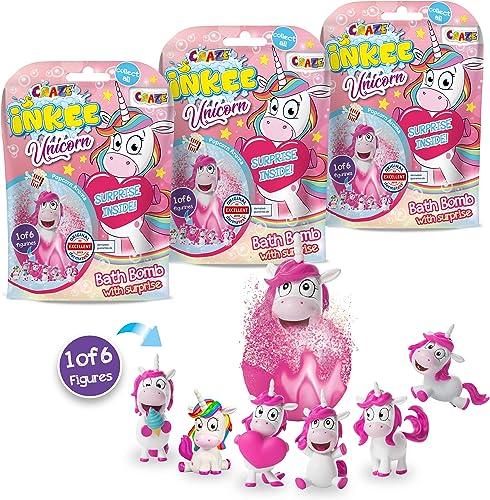 Pack 3 Bombas de Baño Infantiles de Unicornios con Juguete Regalo Sorpresa figurita de Unicornio. Lote de 3 Sales de ...