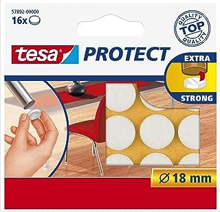 tesa UK Ltd 57892-00000-00 Protect Anti Scratch Self Adhesive Felt Pads Round, 18 mm - White, 16 Pads