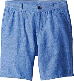 Linen Flat Front Shorts (Toddler/Little Kids/Big Kids)