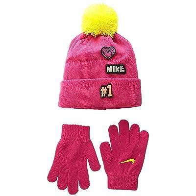 Nike Kids Patch Play Beanie Gloves Set (Little Kids) (Rush Pink/Dynamic Yellow) Beanies