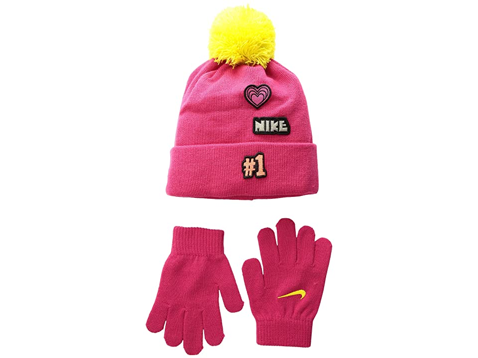 Nike Kids Patch Play Beanie Gloves Set (Little Kids) (Rush Pink/Dynamic Yellow) Beanies