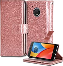Moto E4 Case, Customerfirst [Wrist Strap] [Kickstand Feature] Glitter Luxury Bling Flip Fold Wallet with [ID&Credit Card Slots] For Motorola Moto E4 / Motorola Moto E 4rd Generation (Rose Gold)