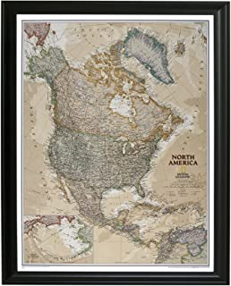 Push Pin Travel Maps Executive North America with Black Frame and Pins