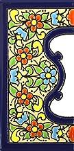 Handgeschilderde polychrome keramische tegels, letters en cijfers handgeschilderd met behulp van drogetouwtechniek, perfec...