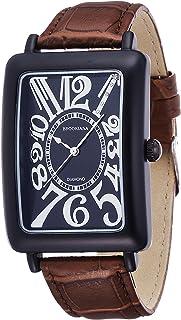 [ブルッキアーナ]BROOKIANA 腕時計 クオーツ 天然ダイヤモンド レクタンギュラーケース アラビアインデックス ブラック×ブラウンレザー BA5101-BKBKBR メンズ 腕時計