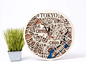 Japan Wooden Decor City Art Tokyo Wooden Wall Clock Birthday Gift for Man Small Scale Map Gift Wooden Wall Clock with Toky...
