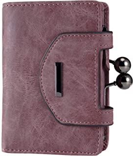 Women's Small Leather Fashion Compact Bifold Purse Wallet with Stylish Kiss Lock Coin Pouch