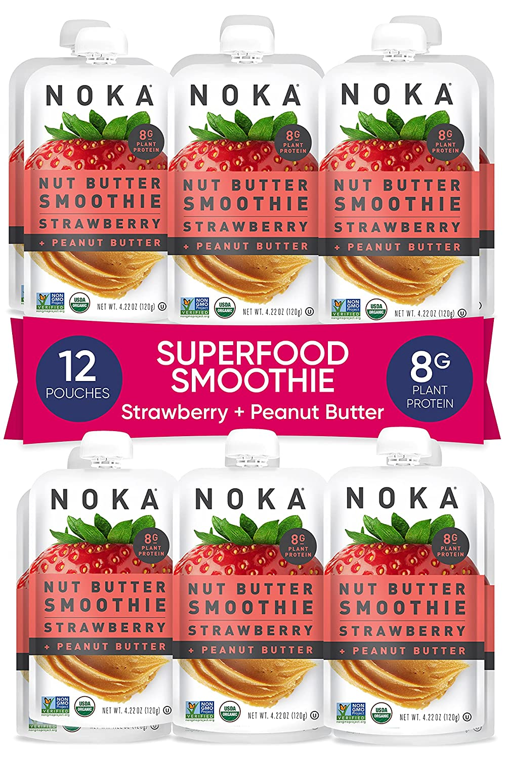 NOKA Nut Max 86% OFF wholesale Butter Fruit Peanut Smoothie Pouches Strawberry