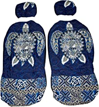 Hawaiian car seat cover with Separated Headrest, Blue Big Turtle, Set of 2 Front Bucket Seat Covers, Made in Hawaii