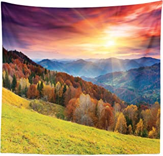 Lunarable Nature Tapestry Queen Size, Mountains in Autumn Theme Landscape and Vibrant Sunset Photography Print, Wall Hanging Bedspread Bed Cover Wall Decor, 88