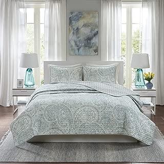 Comfort Spaces Kashmir Hypoallergenic All Season Lightweight Filling Paisley Print Girls 3 Piece Quilt Coverlet Bedspread Bedding Set, King, Blue Grey