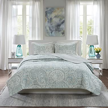 Comfort Spaces Kashmir Hypoallergenic All Season Lightweight Filling Paisley Print Girls 3 Piece Quilt Coverlet Bedspread Bedding Set, King/Cal King, Blue Grey