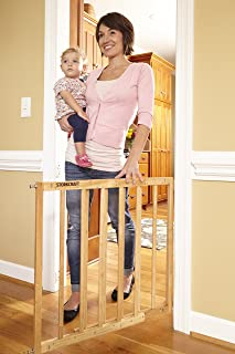 Stork Craft Easy Walk-Thru Puerta de seguridad de madera, natural, Natural, Natural