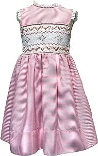Traditional Handmade Smocked Girl's Dress in Diferent Colours. (Bordados a Mano Nido De Abeja)
