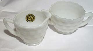Early American Style White Milk Glass Cubist Sugar and Creamer