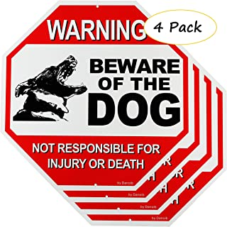 4-Pack Beware of The Dog Sign Warning for Fence/Yard/Gate,12x12 Rust-Free Aluminum UV Printed,Easy to Mount Weather Resistant Long Lasting Ink