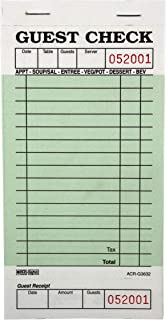 DayMark Guest Check Board, 1 Part, Green (Case of 50 Books, 50 Sheets Per Book)