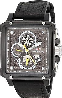 Seapro Men's Dual Timer Stainless Steel Quartz Leather Strap, Black, 22 Casual Watch (Model: SP0114)