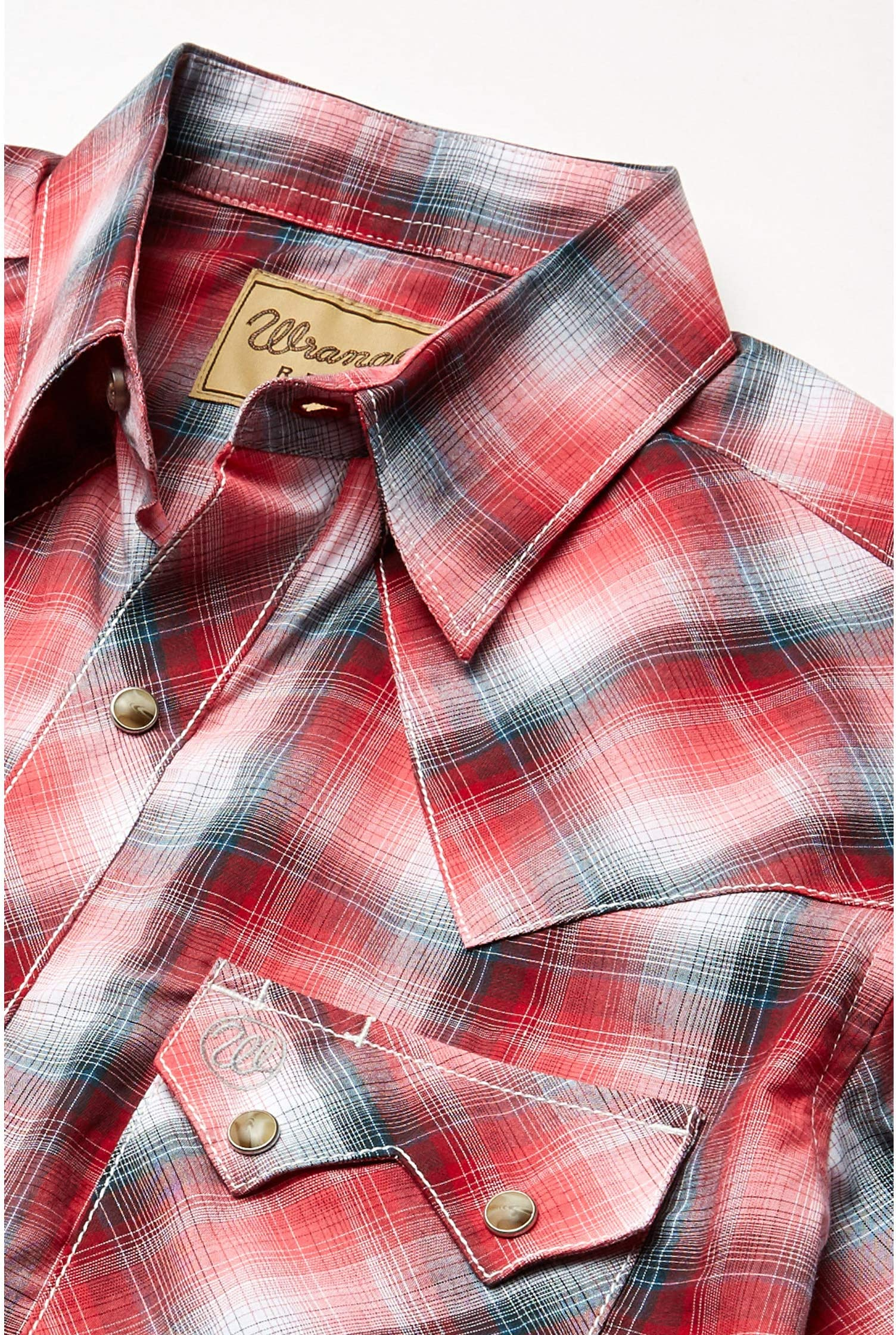 Wrangler Retro Short Sleeve Plaid Two-Pocket Snap pv7ky