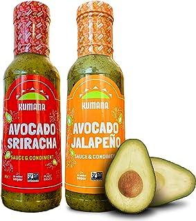 Kumana Avocado Hot Sauce. Jalapeño & Sriracha Two Pack. Made with ripe Hass Avocados & Chili Peppers. Keto & Paleo. Gluten...