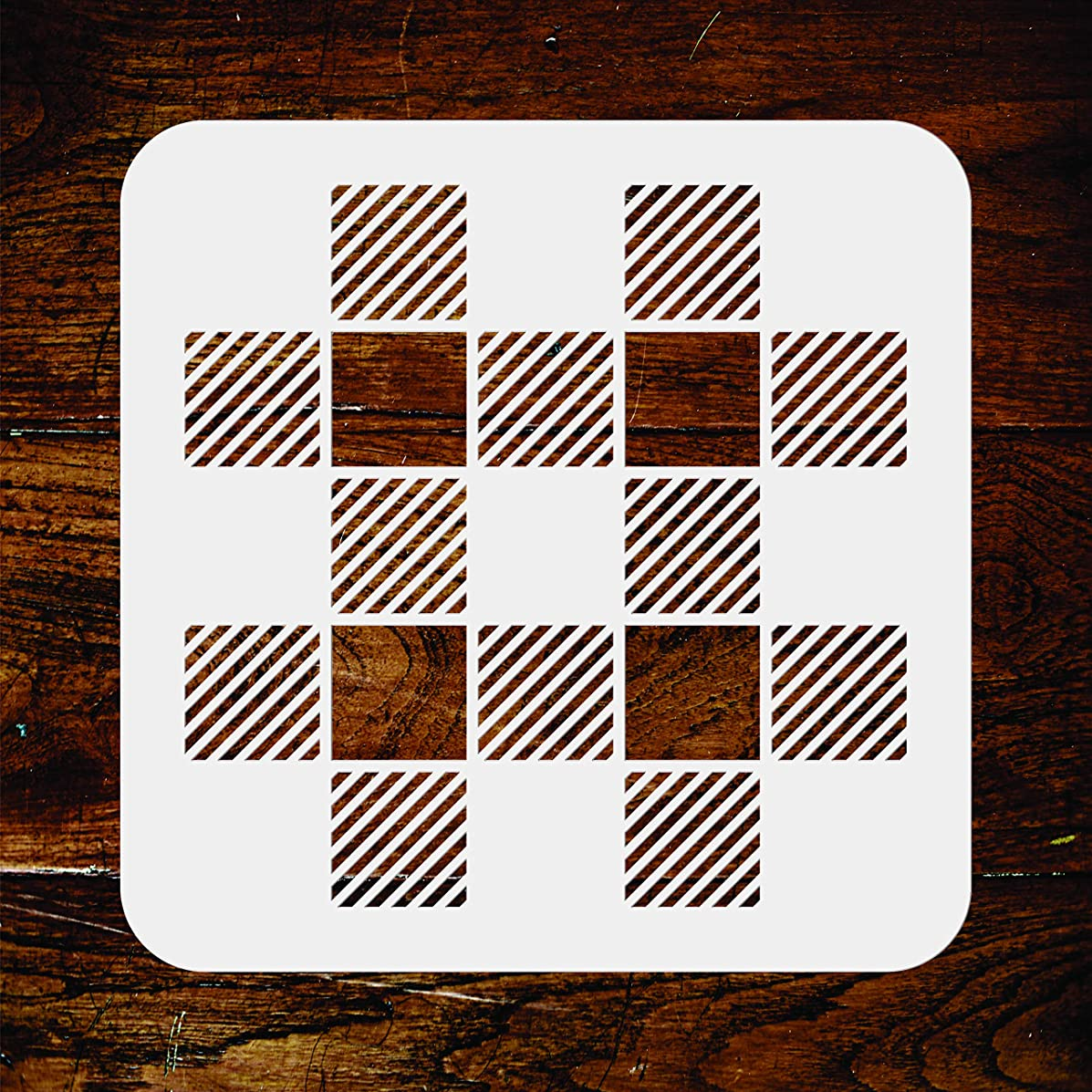 Buffalo Plaid Stencil - 10 x 10 inch -Reusable Folkart Check Pattern Allover Wall Stencils Template - Use on Paper Projects Scrapbook Journal Walls Floors Fabric Furniture Glass Wood etc.