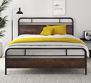 """SHA CERLIN Heavy Duty Queen Bed Frames with Modern Wood Headboard, Metal Platform Bed with Frosted Iron Frame, 12"""" Under B..."""
