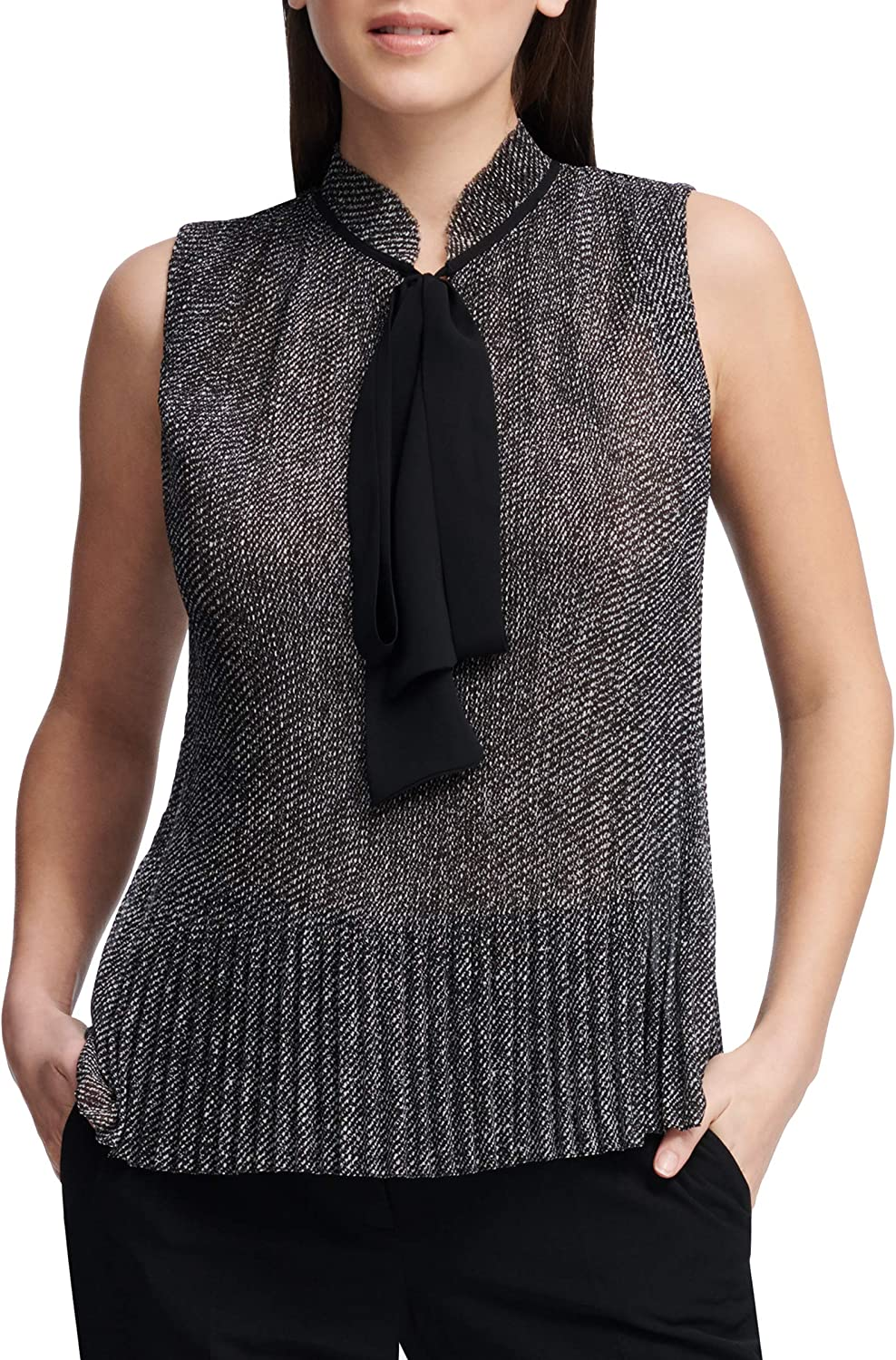 DKNY Women's Sleeveless Pleated Top with Tie Neck