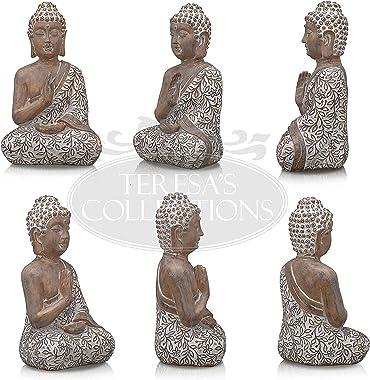TERESA'S COLLECTIONS Large Meditating Buddha Statue for Home Decor, Rustic Zen Decor Serene Resin Yoga Sculpture, Antique