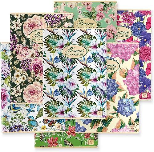 Pigna 02088361R Nature Flowers Lot de 10 cahiers Format A4 ligné pour moyenne et supérieure Papier recyclé 80 g/m²