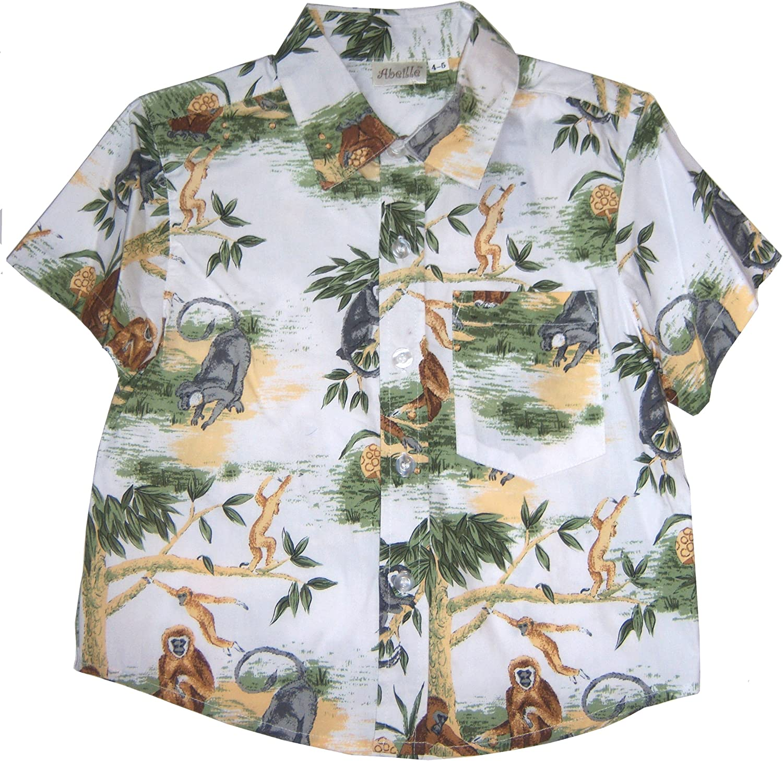 US Giftwear Abeille Boys Forest Monkey Print Button Front Shirt Size 6X Multicolor