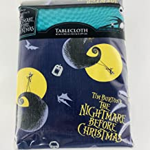 Tim Burton's The Nightmare Before Christmas Tablecloth 60 in x 102 in PEVA Plastic Flannel Backing